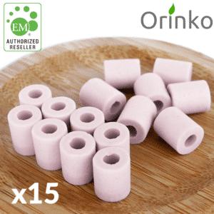 Perles de céramique roses x15