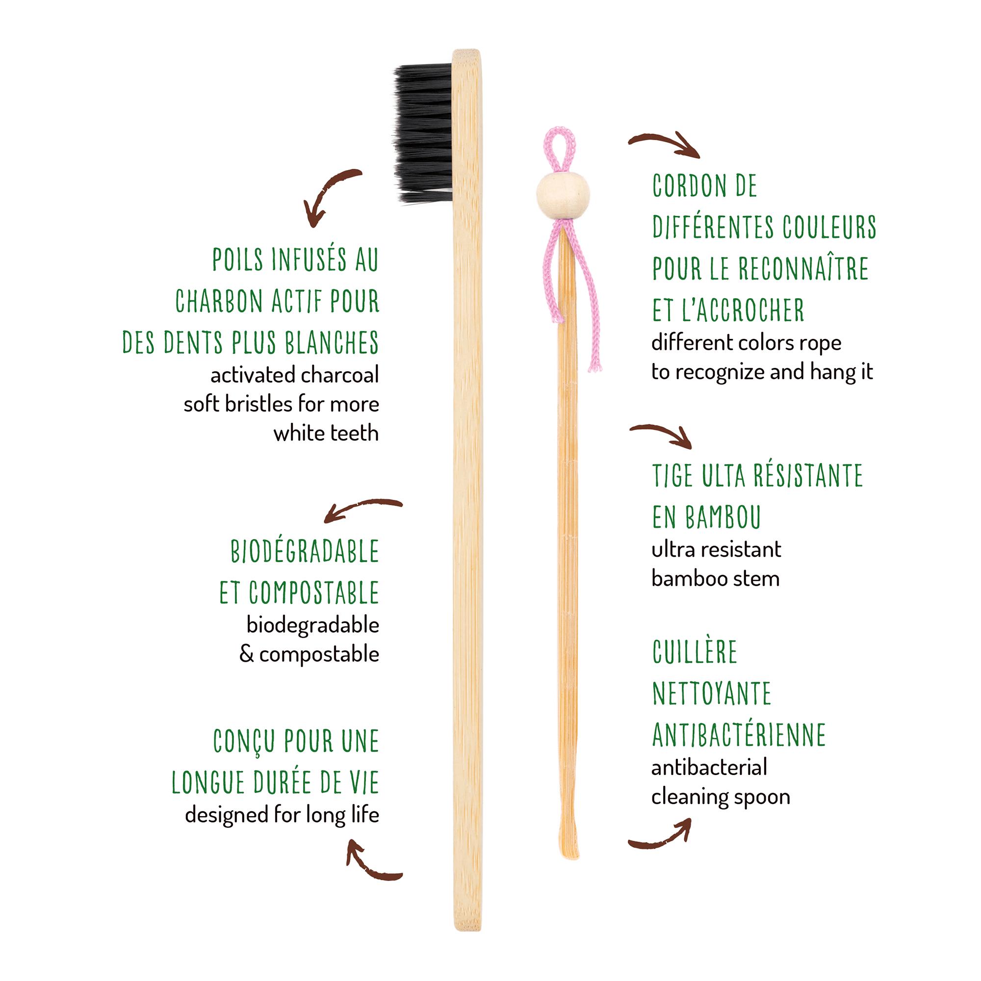 oriculi et brosse à dents en bambou